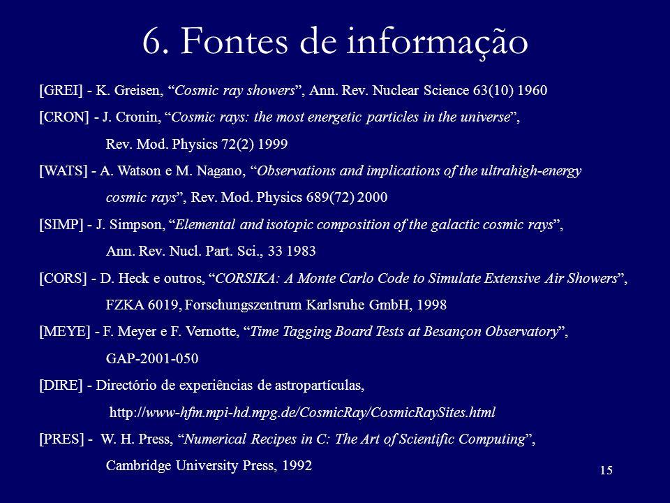 6. Fontes de informação[GREI] - K. Greisen, Cosmic ray showers , Ann. Rev. Nuclear Science 63(10) 1960.